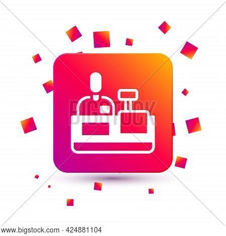 White Cashier At Cash Register Supermarket Icon Isolated On White Background. Shop Assistant, Cashie