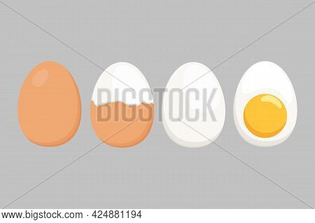 A Set Of Differently Cooked Eggs. Whole Egg, Peeled Eggs, Slice, Hard-boiled Egg. Egg Symbol For Log