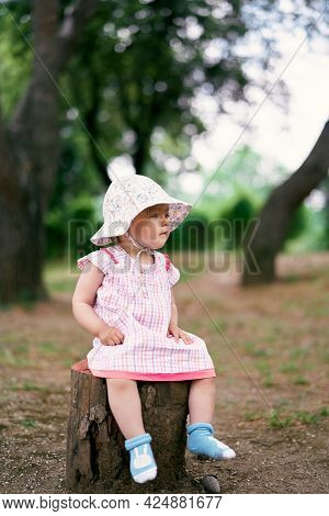 Little Girl In A Dress And Hat Sits On A Tree Stump And Looks Into The Distance