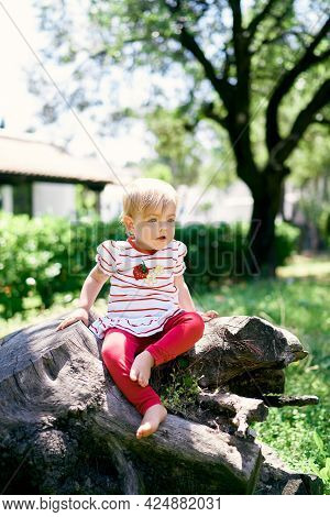 Little Barefoot Kid Sits On A Tree Stump In A Green Park