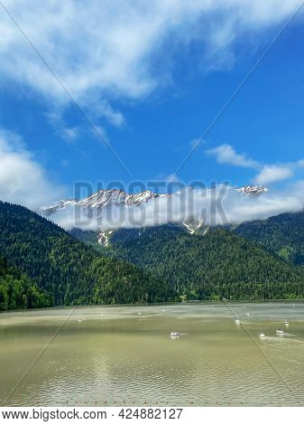 Majestic Landscape With Mountain And Lake.high Quality Photo