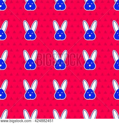 Blue Animal Cruelty Free With Rabbit Icon Isolated Blue Background. Vector