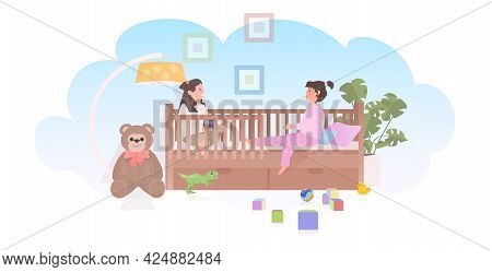 Little Children Playing Toys In Crib Cute Girls Having Fun At Home Or Kindergarten Childhood Concept