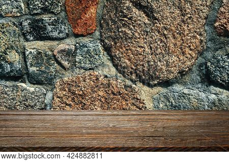 The Background Is Blank Wooden Boards And A Textured Stone Wall With Lighting And Vignetting. For Pr