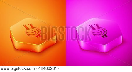 Isometric Yarn Ball With Knitting Needles Icon Isolated On Orange And Pink Background. Label For Han