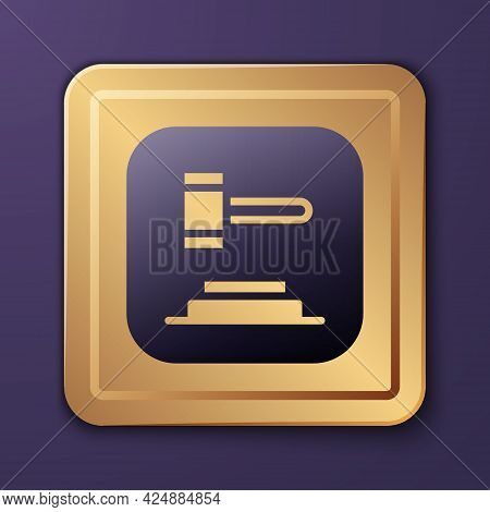 Purple Judge Gavel Icon Isolated On Purple Background. Gavel For Adjudication Of Sentences And Bills