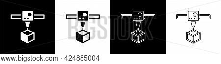 Set 3d Printer Cube Icon Isolated On Black And White Background. 3d Printing. Vector