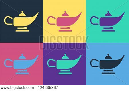 Pop Art Magic Lamp Or Aladdin Lamp Icon Isolated On Color Background. Spiritual Lamp For Wish. Vecto