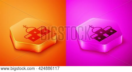 Isometric Church Building Icon Isolated On Orange And Pink Background. Christian Church. Religion Of