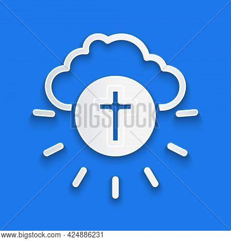 Paper Cut Religious Cross In The Circle Icon Isolated On Blue Background. Love Of God, Catholic And