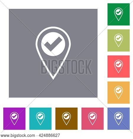 Gps Location Ok Flat Icons On Simple Color Square Backgrounds