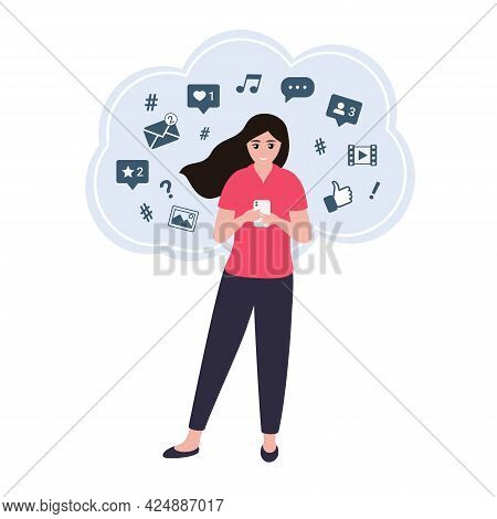 Young Woman Using A Smartphone. Freelancer Working In Social Network. Social Media Manager. Vector C