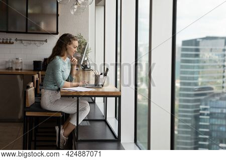 Happy Concentrated Young Business Lady Working On Computer.