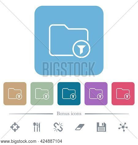 Filter Directory Outline White Flat Icons On Color Rounded Square Backgrounds. 6 Bonus Icons Include