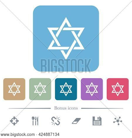 Star Of David White Flat Icons On Color Rounded Square Backgrounds. 6 Bonus Icons Included