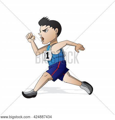 Runner Athlete Running Mascot Cartoon Vector Eps