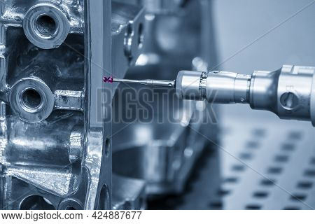 The Multi-axis Cmm Machine Checking The Cylinder Block Parts . The Quality Control Of Automotive Par