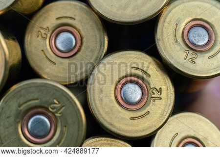 A Macro View Of The Bullets For Hunting Rifle Of Twelve Caliber