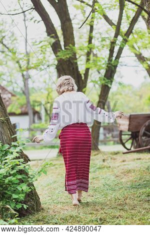 Beautiful Slender Peasant Woman In Embroidered Clothes Walks Around The Yard