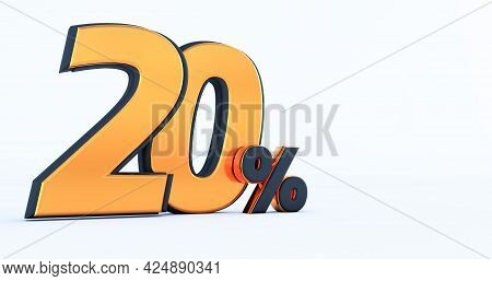 3d Render Of A Gold And Black Twenty 20 Percent. 20% Off Discount Promotion Sale