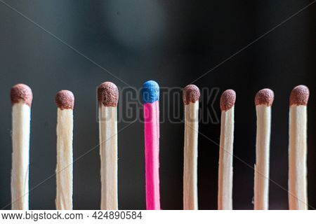 Single Unique Wooden Match Among The Other Regular Ones, The Teamwork Idea