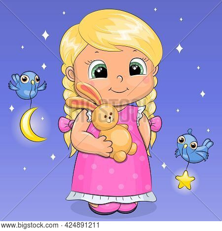 Cute Cartoon Blonde Girl With A Toy Rabbit. Night Vector Illustration With Birds, Stars, Moon On A B