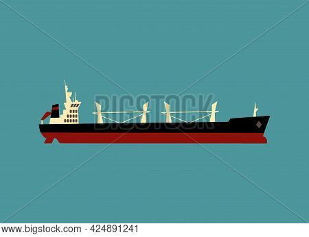 Flat Illustration Showing Side View Of Dry Cargo Bulker Ship, Vessel Structure Schematic Outline Wit