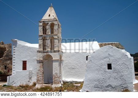 Greece, Kythira Island. Church, Hora, By The Historic Castle. Traditional Old Chapel With Dramatic B