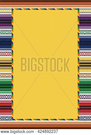 Ethnic Pattern Background With Copy Space For Text. Colorful Striped Frame. Traditional Mexican Blan