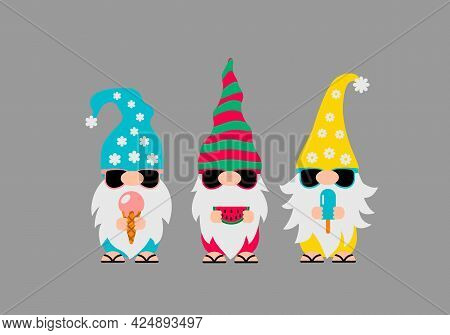 Summer Gnomes Wearing Sunglasses. Cute Cartoon Characters On Vacations. Vector Template For Banner,