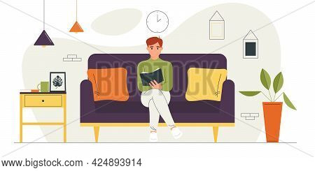 Young Guy Sitting On The Couch Is Holding A Book In His Hand.vector Illustration Of A Cartoon Charac