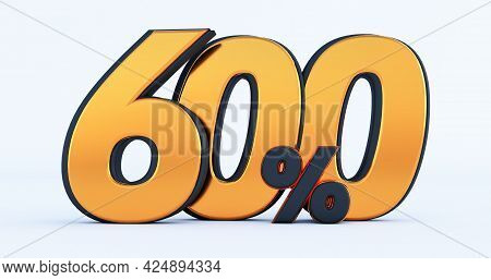 Six Hundred 600% Off On Sale. Gold Percent Isolated On White Background. 3d Render Of A Gold Six Hun