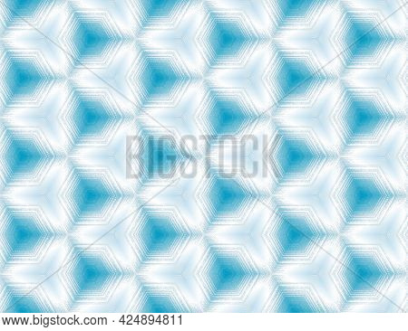 Seamless Abstract Blue And White Textured Geometric Pattern With Kaleidoscope Effect. Symmetric Hexa