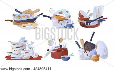 Collection Of Dirty Dishes Vector Flat Illustration Various Empty Crockery For Washing And Cleaning
