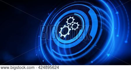 Automation Business Process Workflow Optimisation. Rpa Innovation Technology. Gears Cogwheel