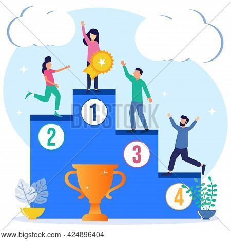 Vector Illustration Of Career Growth And Job Promotion As The Concept Of Employee Job Achievement. S