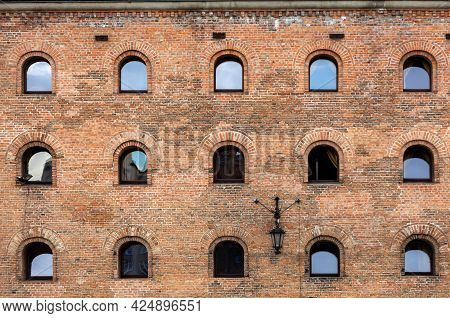 Facade Of Restored Medieval Granary On The Olowianka Island In The Old Town Of Gdansk