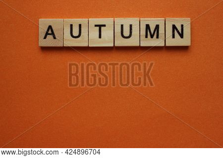 The Word Autumn Is Made Of Wooden Cubes On An Orange Background. The Word Is On Top. The Concept Of
