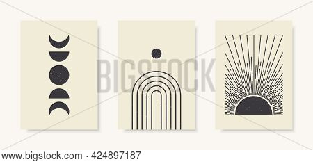 Trendy Set Of Moon Phases, Arch And Abstract Sun Posters.  Contemporary Aesthetic Prints.  Vector Te