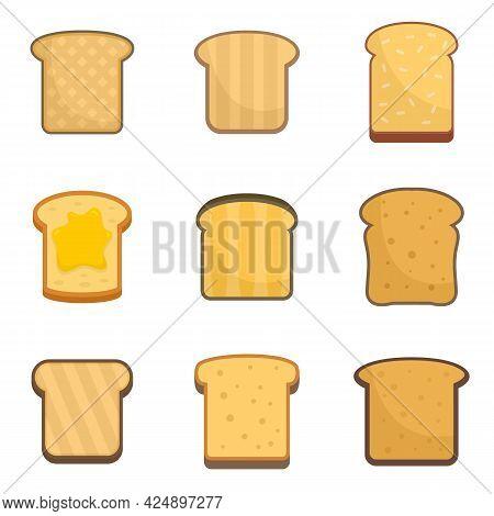Toast Icons Set. Flat Set Of Toast Vector Icons Isolated On White Background