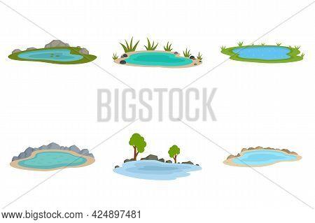 Lake Icons Set. Flat Set Of Lake Vector Icons Isolated On White Background