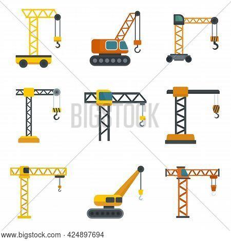 Crane Icons Set. Flat Set Of Crane Vector Icons Isolated On White Background