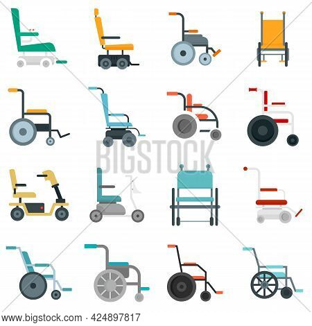 Wheelchair Icons Set. Flat Set Of Wheelchair Vector Icons Isolated On White Background