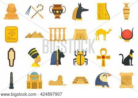 Egypt Icons Set. Flat Set Of Egypt Vector Icons Isolated On White Background