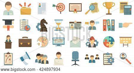 Managing Skills Icons Set. Flat Set Of Managing Skills Vector Icons Isolated On White Background
