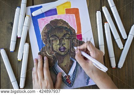 Female Hands Draw With Markers A Black Girl In School Uniform. Hobby. Drawing Or Sketching With Mark