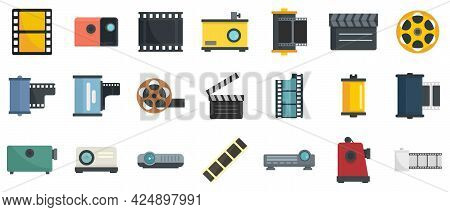 Filmstrip Icons Set. Flat Set Of Filmstrip Vector Icons Isolated On White Background