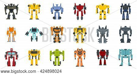 Robot-transformer Icons Set. Flat Set Of Robot-transformer Vector Icons Isolated On White Background