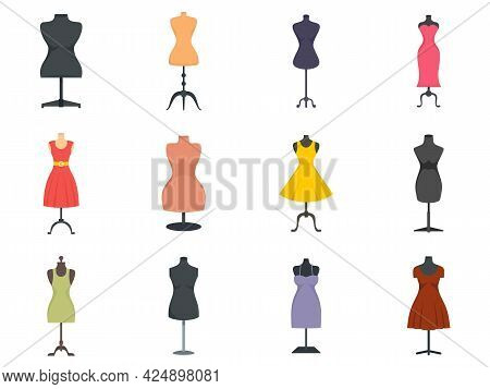 Mannequin Icons Set. Flat Set Of Mannequin Vector Icons Isolated On White Background