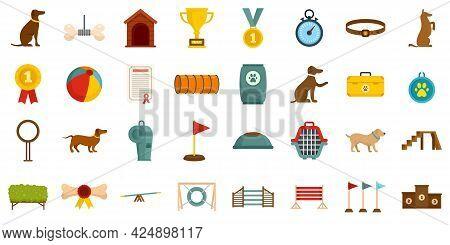 Dog Training Icons Set. Flat Set Of Dog Training Vector Icons Isolated On White Background
